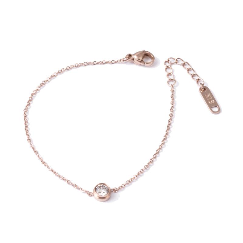 Ατσάλινο βραχιόλι ροζ χρυσό με ζιργκόν – Twinsart.gr d55eb68766d
