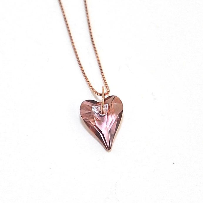 Κολιέ ασημένιο ροζ χρυσό με καρδιά SWAROVSKI Antique Pink – Twinsart.gr 4dda5f94bb1