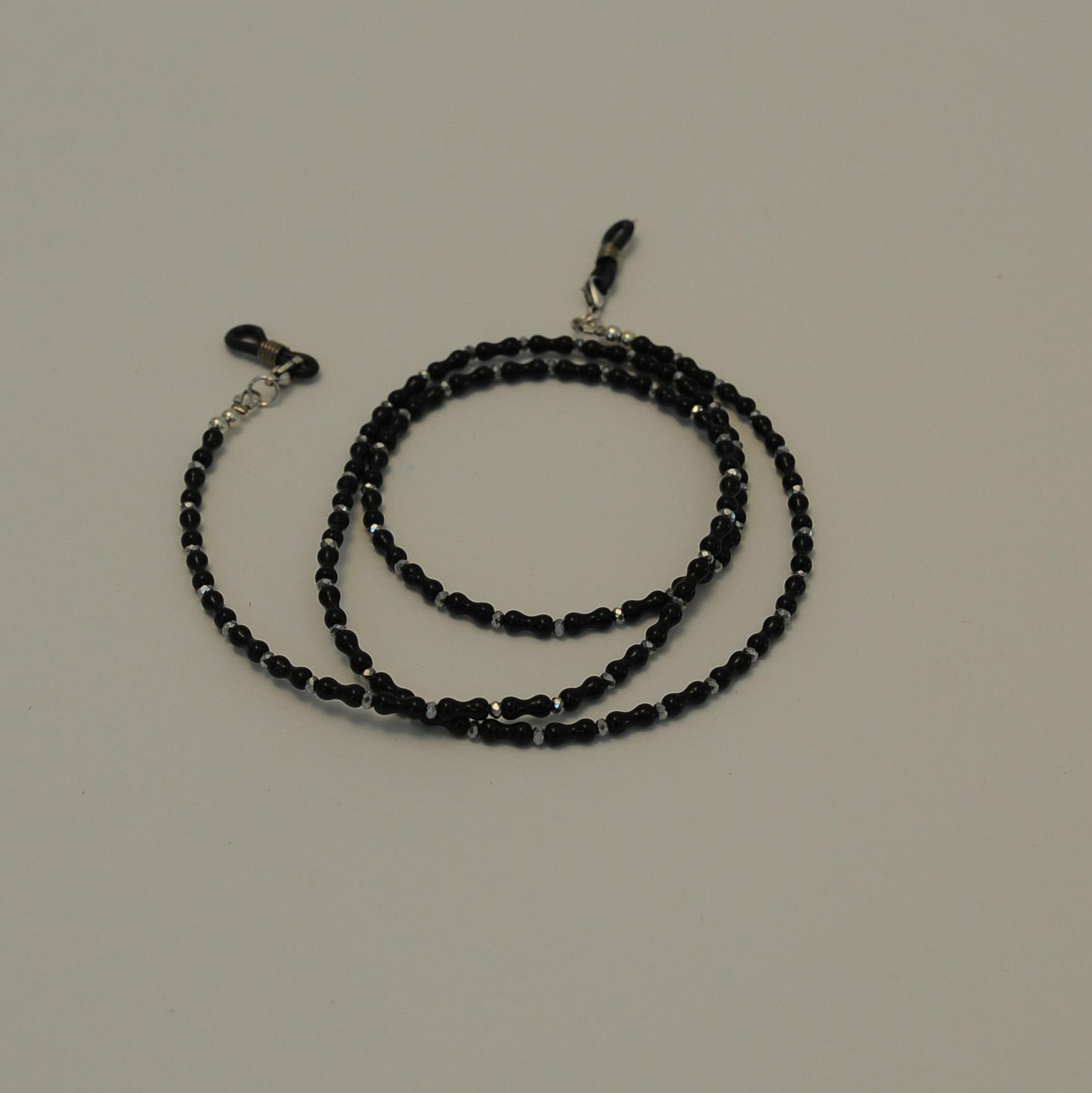 5e2810deb6 Χειροποίητο κορδόνι γυαλιών με γυάλινες μαύρες-ασημί χάντρες – Twinsart.gr