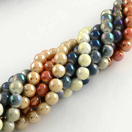 Γυάλινες πέρλες στρογγυλές 6 mm – κορδόνι 108 τμχ διάφορα χρώματα f47fc73c3e2