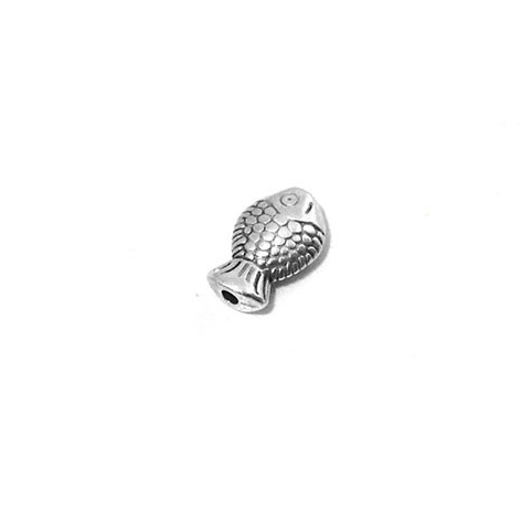 Μεταλλική Ζάμακ Χυτή Χάντρα Ψάρι Περαστό 11x8mm (Ø1.5mm) -ασημί 59c0537970d