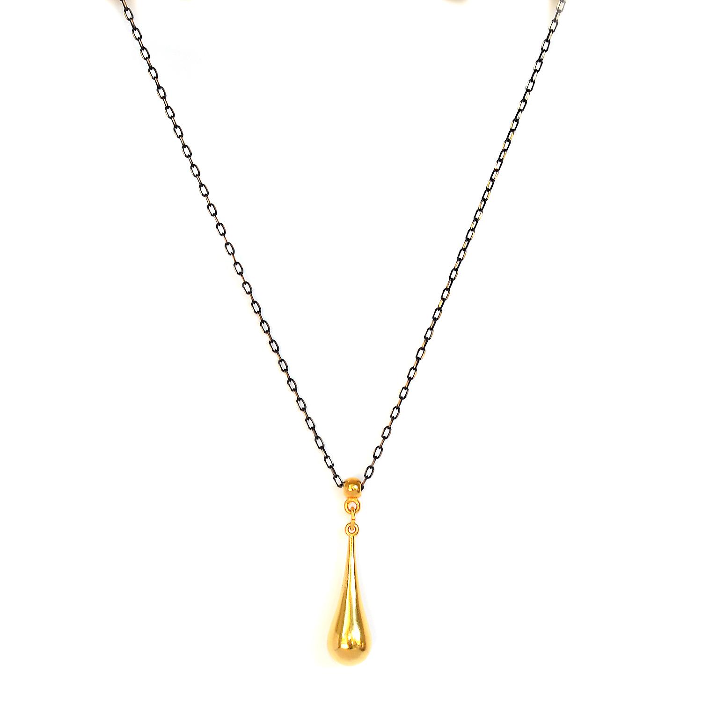 Κολιέ μακρύ με μαύρη αλυσίδα και χρυσό μοτίφ σταγόνα – Twinsart.gr 0ad3519c557